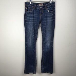 MEK Womens 28x34 Distress Bootcut Long Tall Jeans